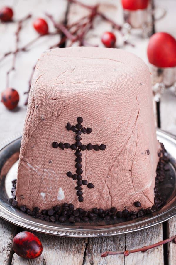 Chocolate da sobremesa do requeijão da Páscoa foto de stock royalty free