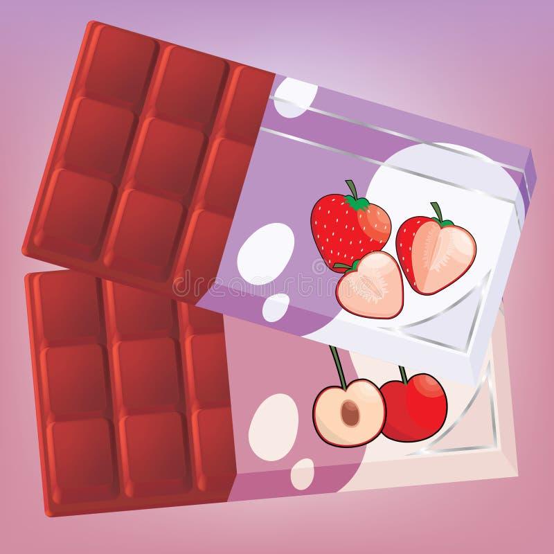 Chocolate de creme da fruta ilustração stock