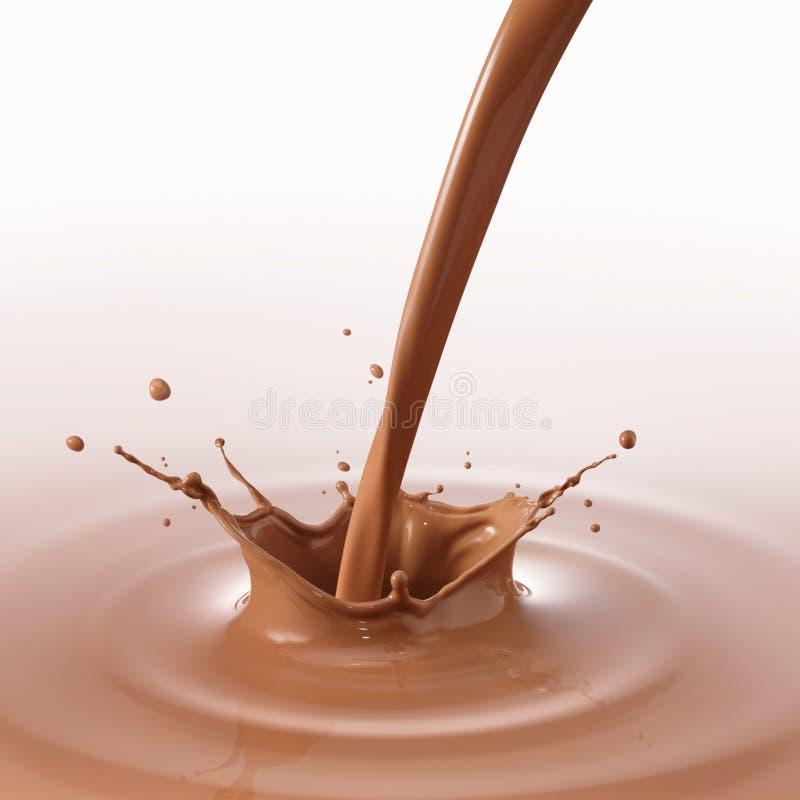 Chocolate de derramamento fotografia de stock royalty free