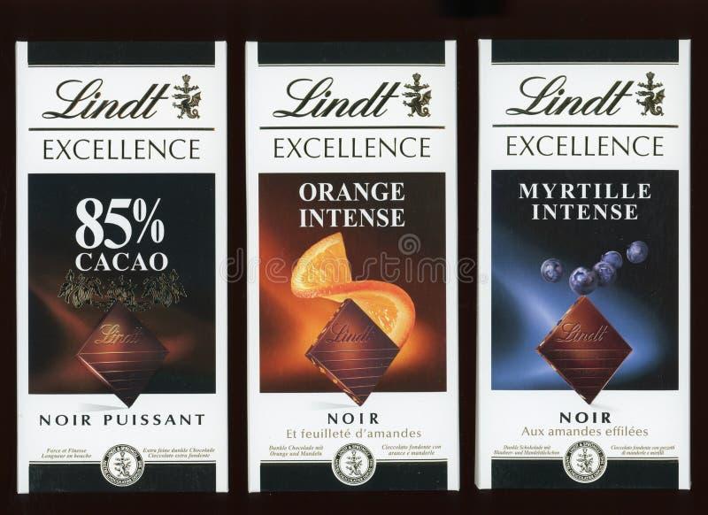 Chocolate de la oscuridad de Lindt fotos de archivo