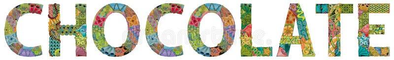 CHOCOLATE de la palabra Objeto decorativo del zentangle del vector para la decoraci?n stock de ilustración