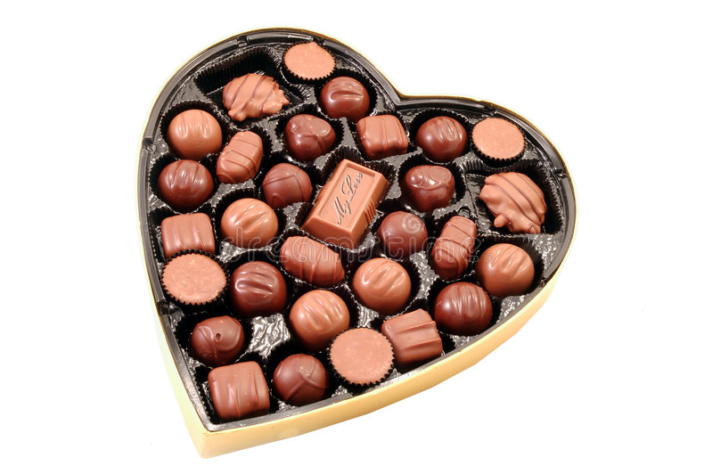 Chocolate de la tarjeta del día de San Valentín imagen de archivo