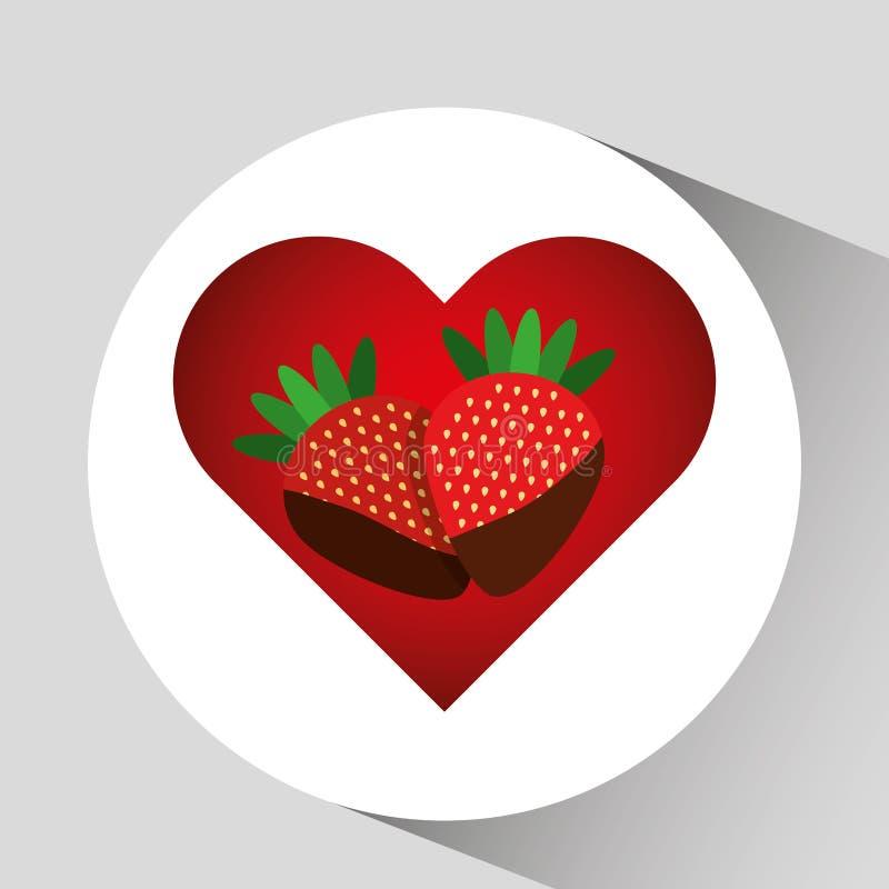 chocolate delicioso de la fresa y diseño de los corazones stock de ilustración