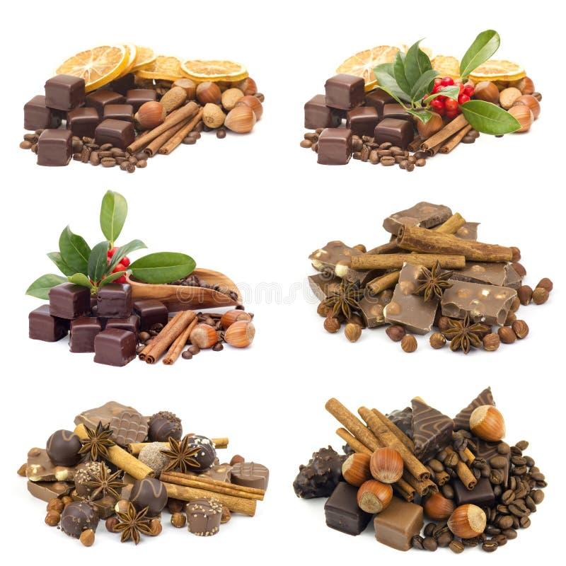 Chocolate delicioso en el fondo blanco imagen de archivo libre de regalías