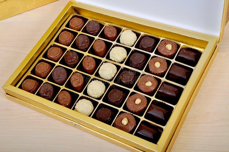 Chocolate delicioso na caixa fotografia de stock