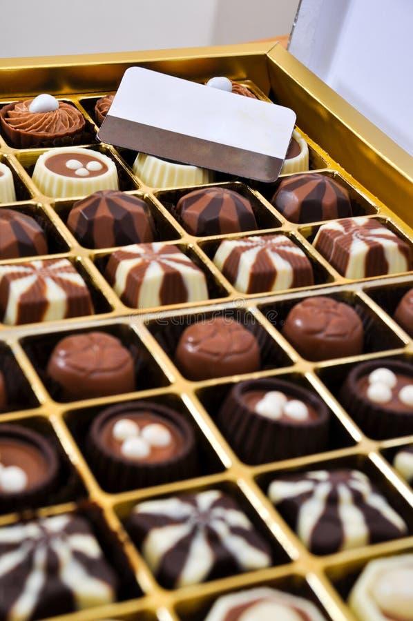 Chocolate delicioso na caixa foto de stock