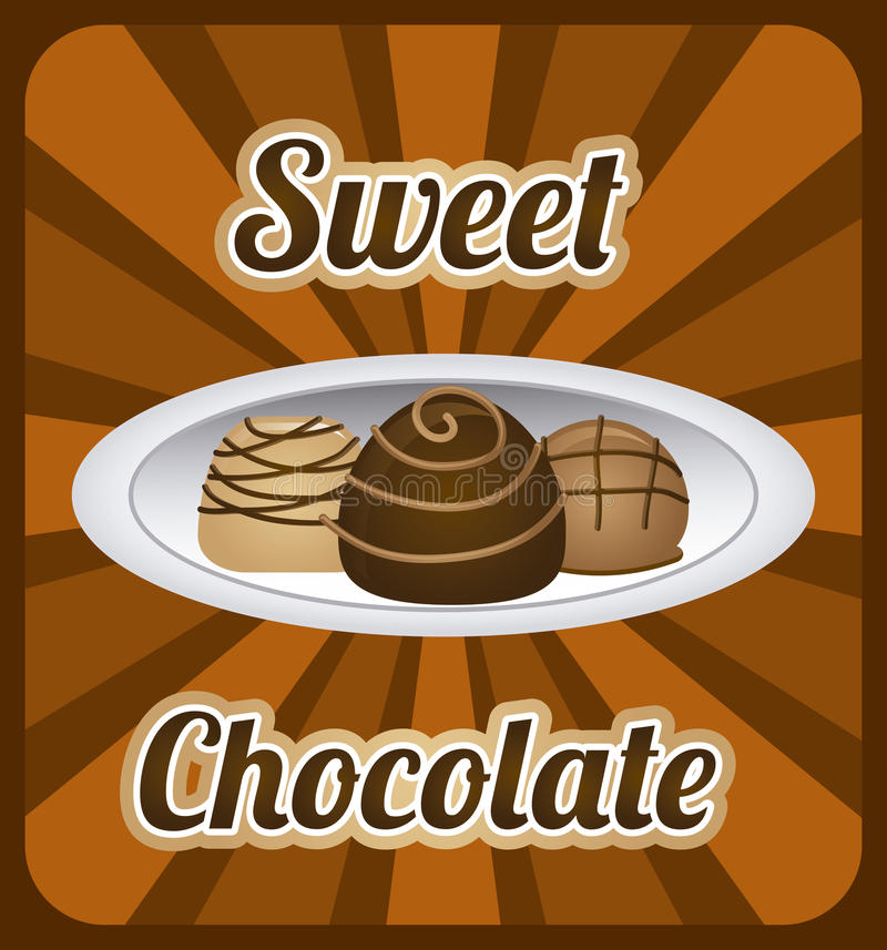 Chocolate design. Over brown background vector illustration vector illustration