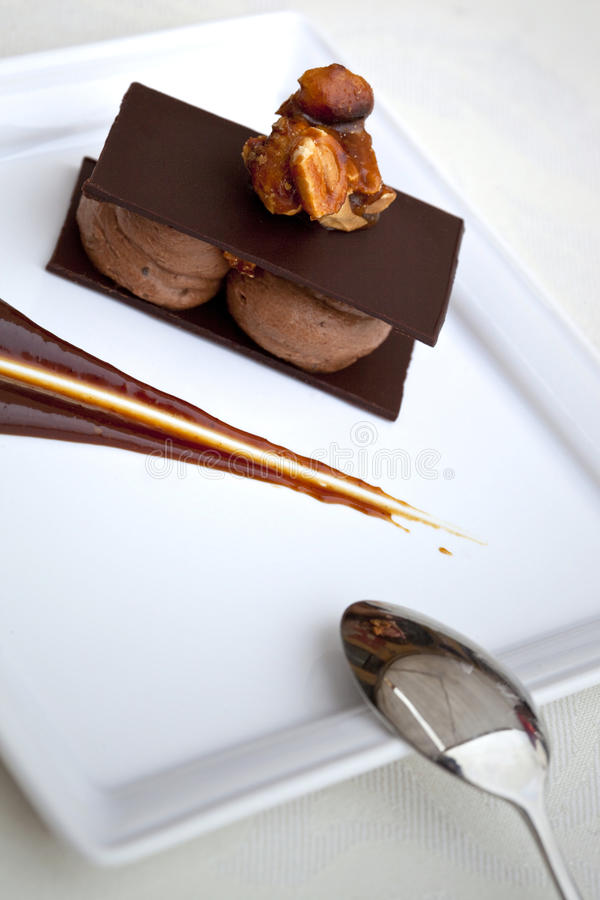 Chocolate dessert. Chocolate mousse, chocolate sauce, caramelized peanuts stock photos