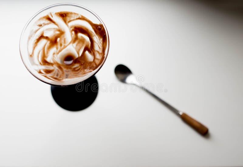Chocolate Dessert with Banana Cream. stock photo