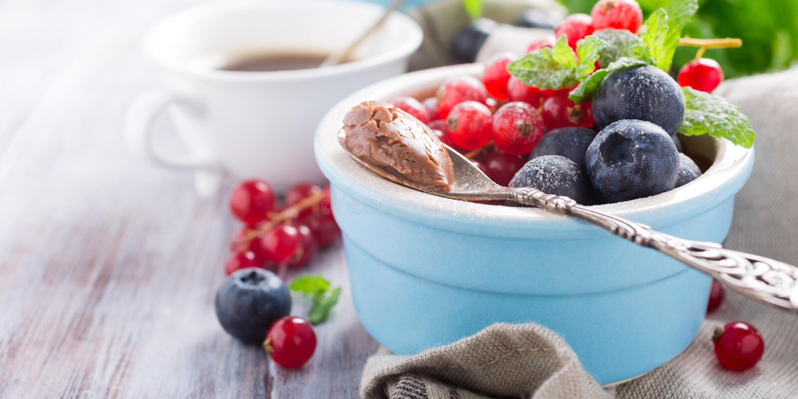 Chocolate dessert with berries. Delicious chocolate dessert with berries and mint served in ramekin. Copy space stock photo