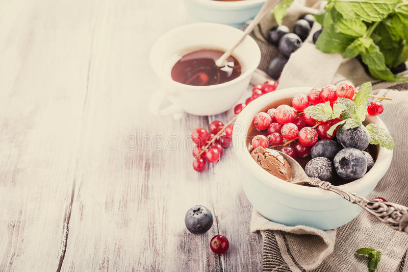 Chocolate dessert with berries. Delicious chocolate dessert with berries and mint served in ramekin. Retro style toned. Copy space royalty free stock images