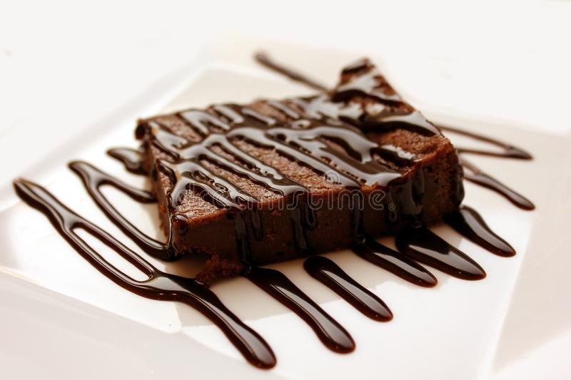 Chocolate, Dessert, Chocolate Brownie, Chocolate Syrup stock photo