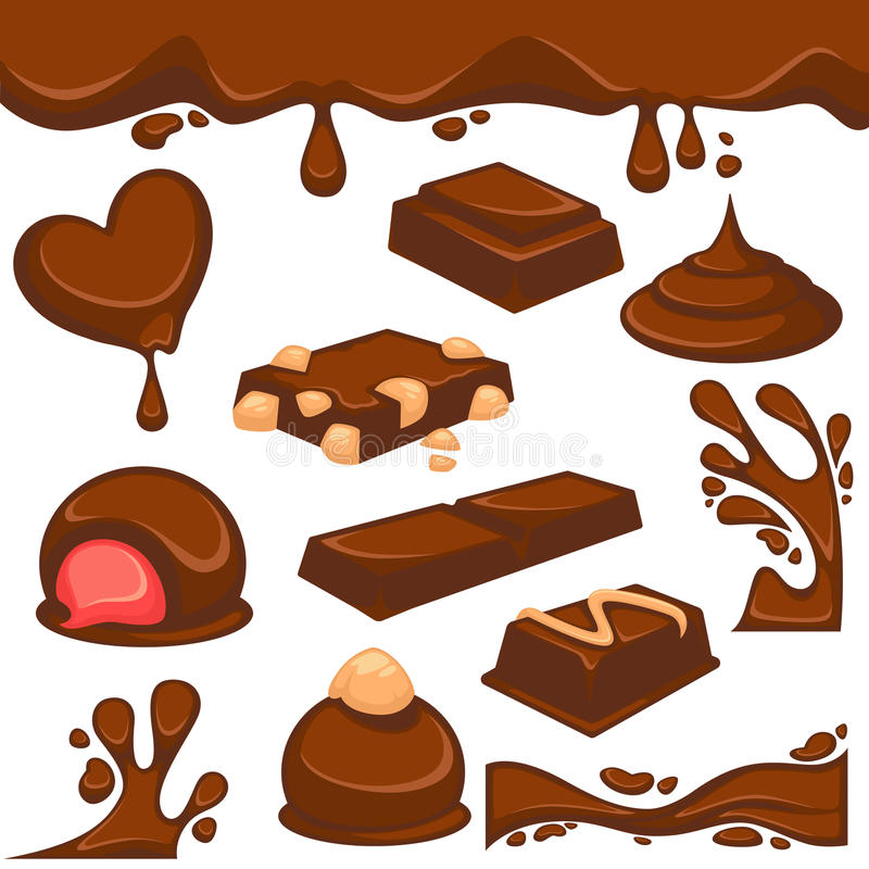 Chocolate dessert and candy vector icons. Chocolate dripping splash drops and confectionery desserts of truffle candy bars and confections. Vector icons of sweet royalty free illustration