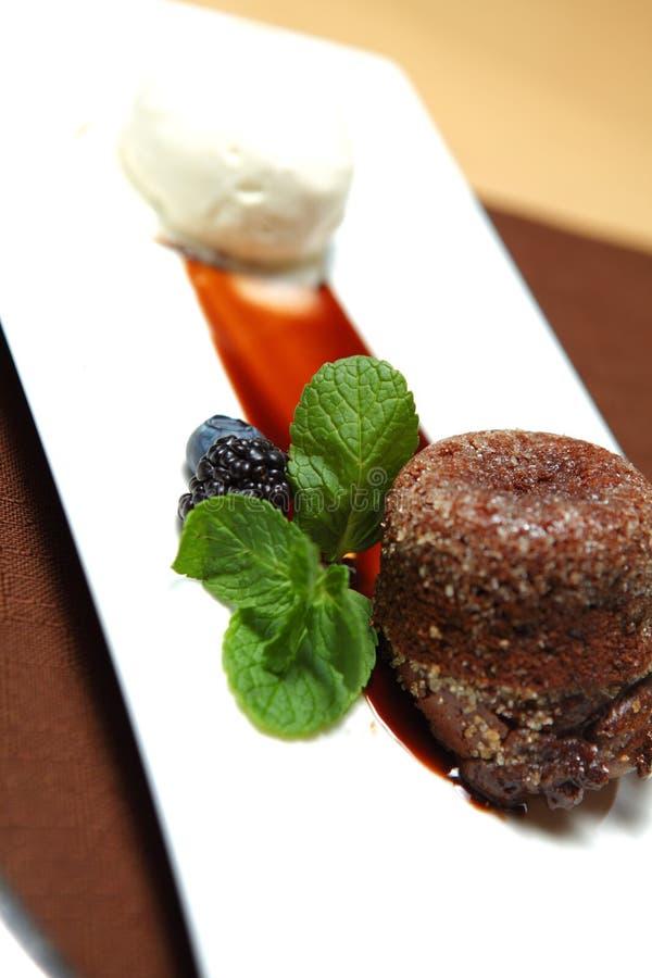 Chocolate Dessert With Ice Cream Stock Photography