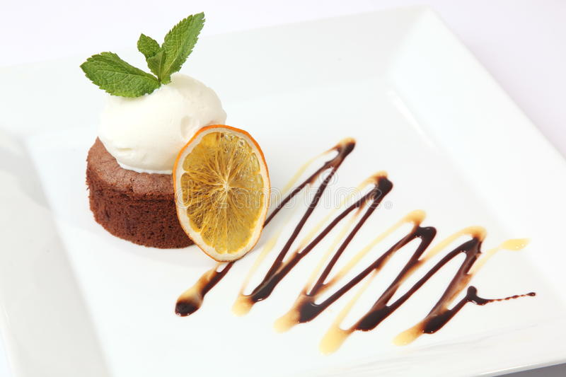Chocolate dessert with icecream stock photography