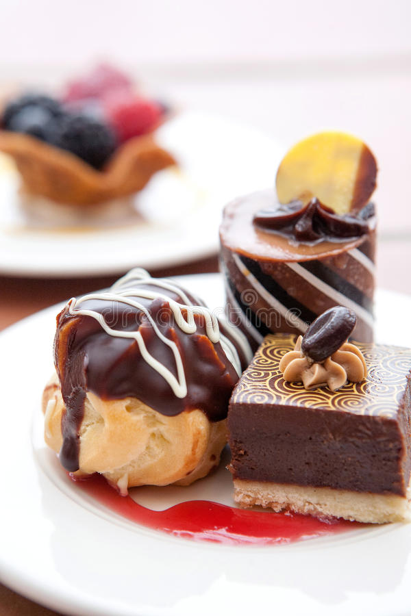Chocolate desserts stock photography