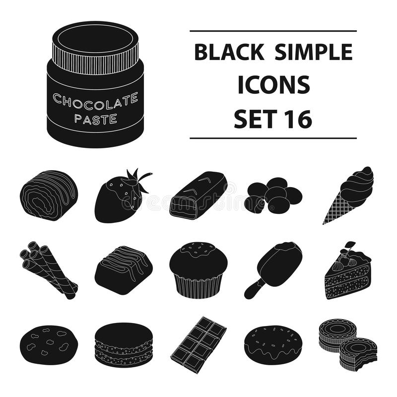 Chocolate desserts set icons in black style. Big collection of chocolate desserts vector symbol stock illustration. Chocolate desserts set icons in black design vector illustration