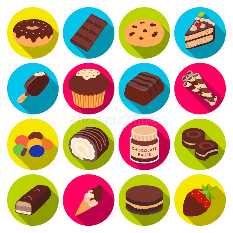 Chocolate desserts set icons in flat style. Big collection of chocolate desserts vector symbol stock illustration stock illustration