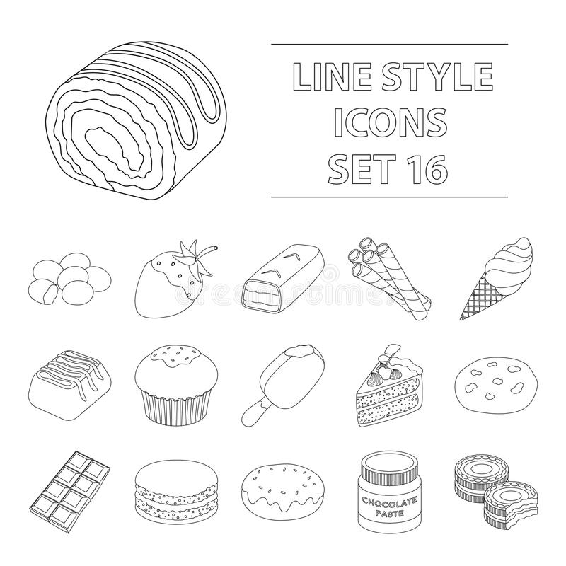 Chocolate desserts set icons in outline style. Big collection of chocolate desserts vector symbol stock illustration. Chocolate desserts set icons in outline vector illustration