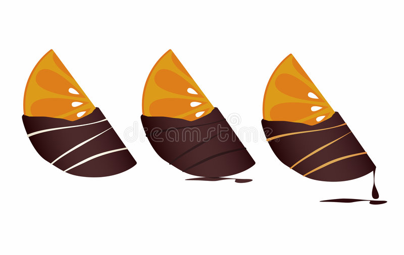 Chocolate-dipped Tangerines. Delicious chocolate-covered Tangerine Icons vector illustration
