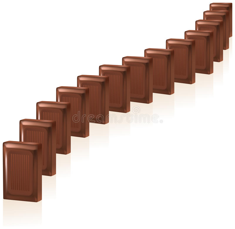 Chocolate Domino. Delicious chocolate domino pieces lined up in a row. Isolated on white background royalty free illustration
