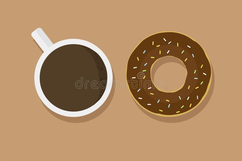 Chocolate donut on brown background with cup of coffee with shadow tasty breakfast cafe dessert. Flat design EPS 10 royalty free illustration