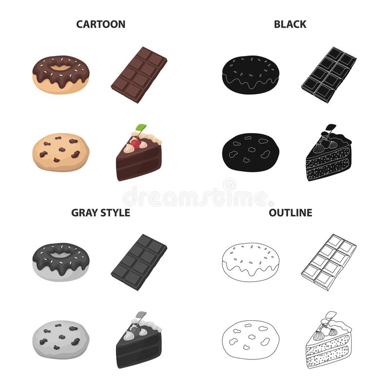 Chocolate donut, chocolate bar,dessert Americano cookies, a piece of cake. Dessert set collection icons in cartoon black. Monochrome outline style vector symbol royalty free illustration