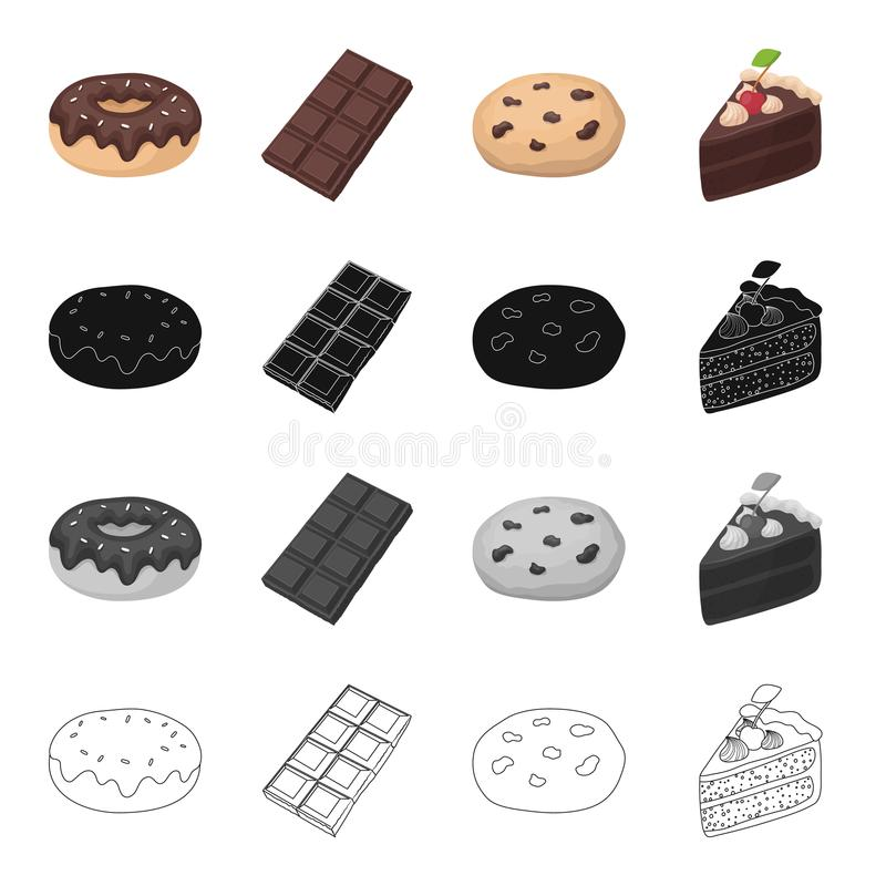 Chocolate donut, chocolate bar,dessert Americano cookies, a piece of cake. Dessert set collection icons in cartoon black. Monochrome outline style vector symbol stock illustration