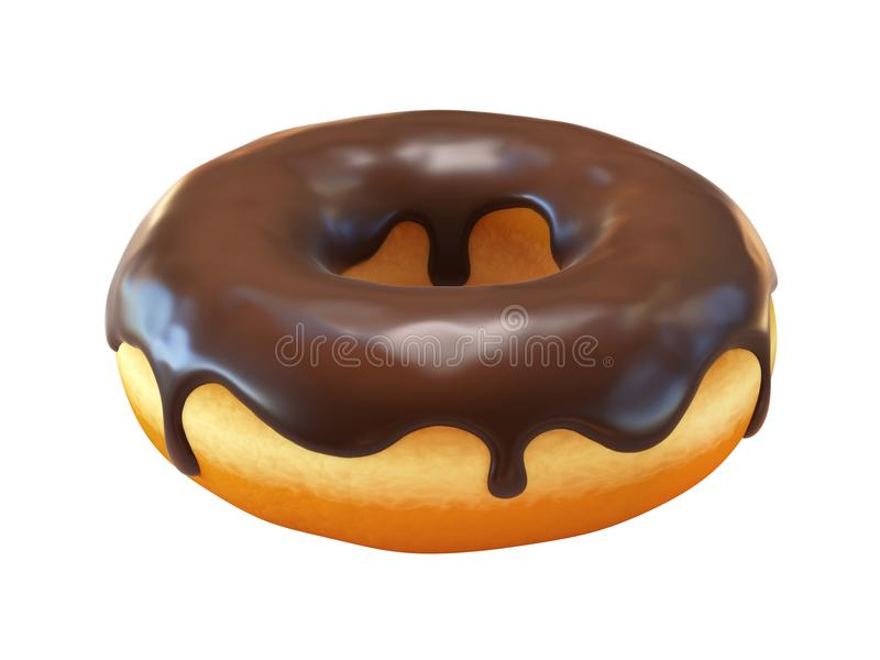 Chocolate donut or doughnut 3d rendering stock illustration