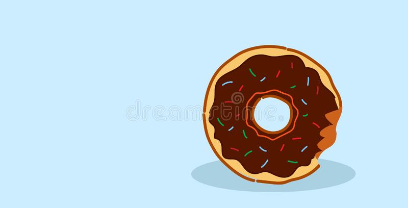 Chocolate donut with glaze and crumbs sweet freshly baked cookie dessert food concept sketch horizontal vector illustration