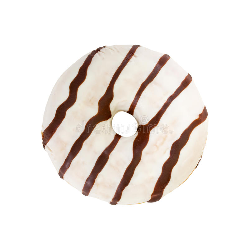 Chocolate donut isolated on white background. stock photo