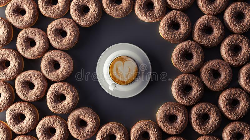 Chocolate donuts with cup of coffee on the black background 3d render royalty free illustration
