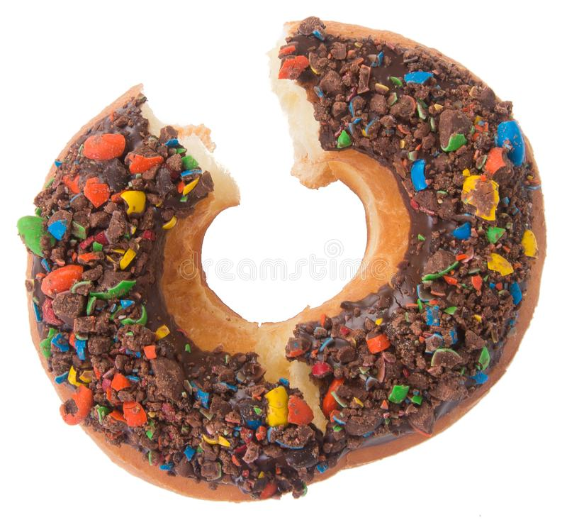 chocolate donuts on a white background royalty free stock image