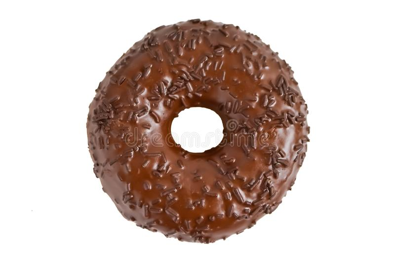 Chocolate doughnut. Delicious chocolate doughnut isolated on white background stock photography