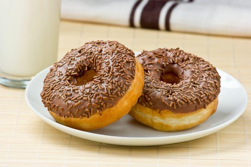 Chocolate Doughnut & Milk. stock images