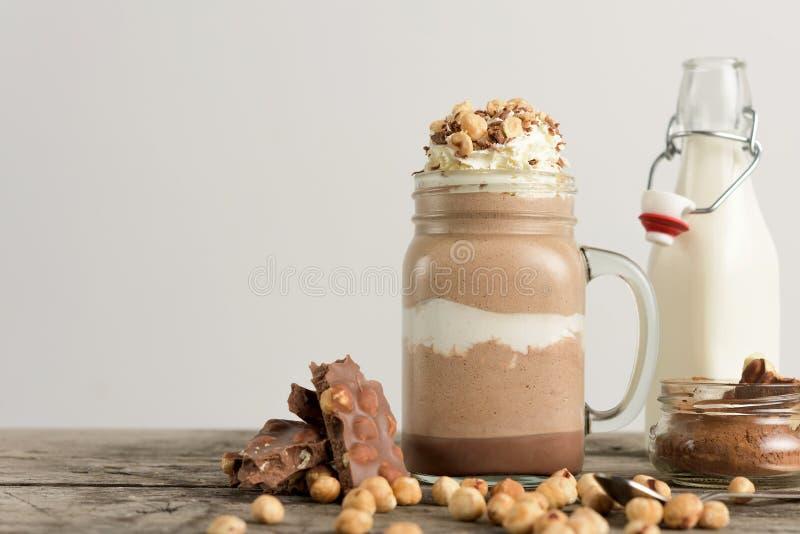 Chocolate drink with hazelnut stock photo