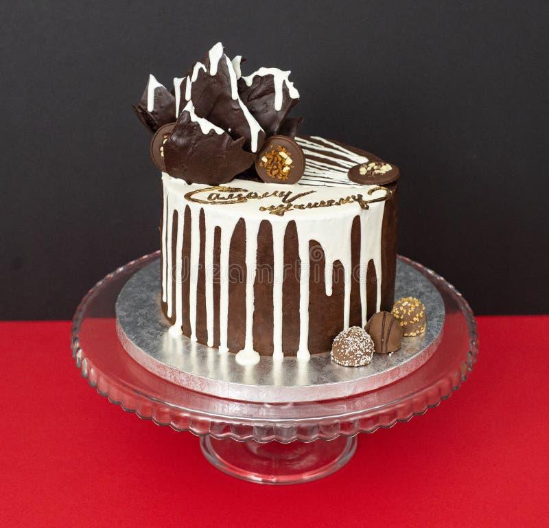 Chocolate drip cake stock photo