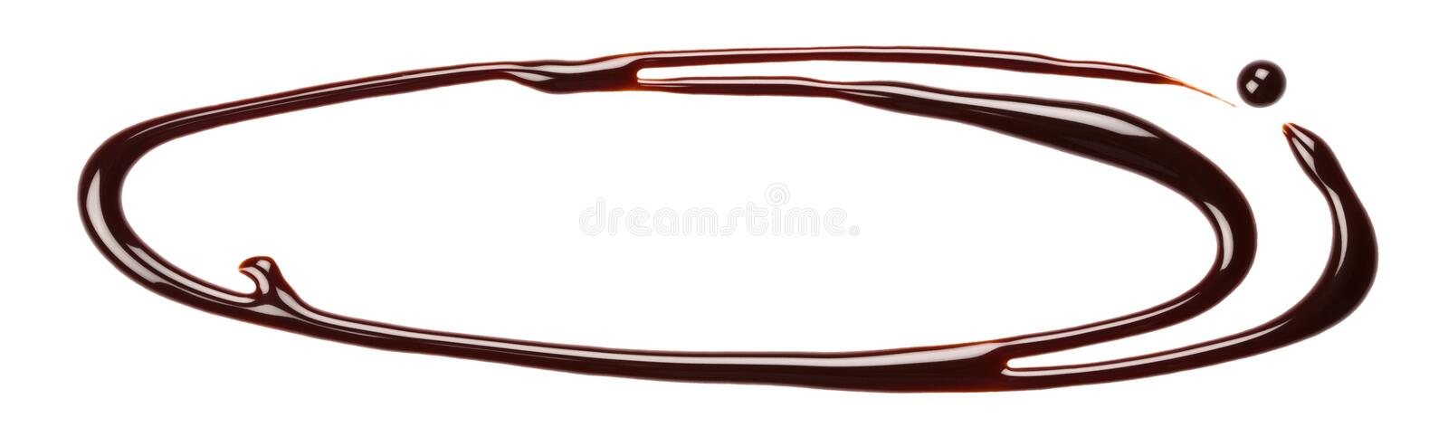 Chocolate drip. Chocolate syrup drip, isolated on white background stock photo