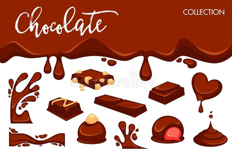 Chocolate dripping splash drops and confectionery desserts of truffle candy bars and confections. Vector icons of sweet choco fondant or cocoa pastry products stock illustration