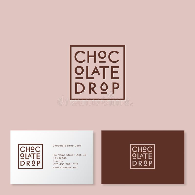 Chocolate drop logo. Cakes and desserts cafe. Brown letters on a foursquare badge. royalty free illustration