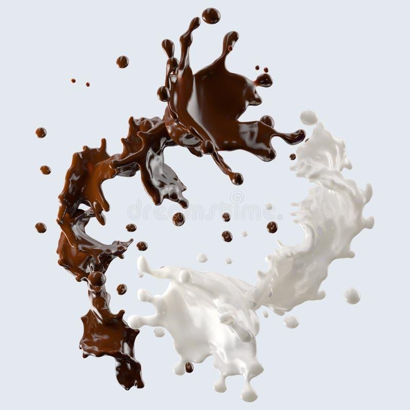 Chocolate e leite que espirram com as gotas isoladas ilustração 3D ilustração stock