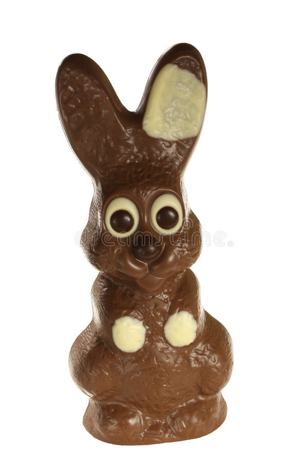 Chocolate Easter Bunny. Chocolate Easter bunnie made of milk and white chocolate for children and only made for the Easter celebration, not available to purchase royalty free stock photography