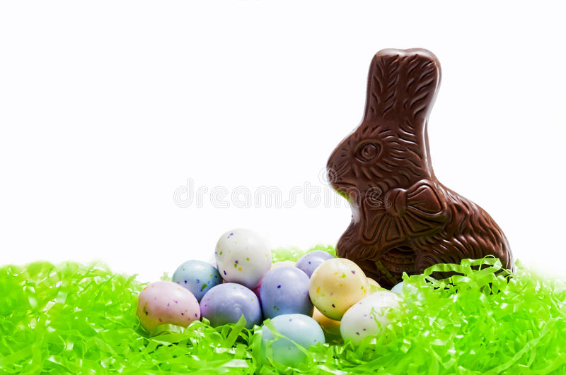 Chocolate Easter bunny,candy,eggs royalty free stock image