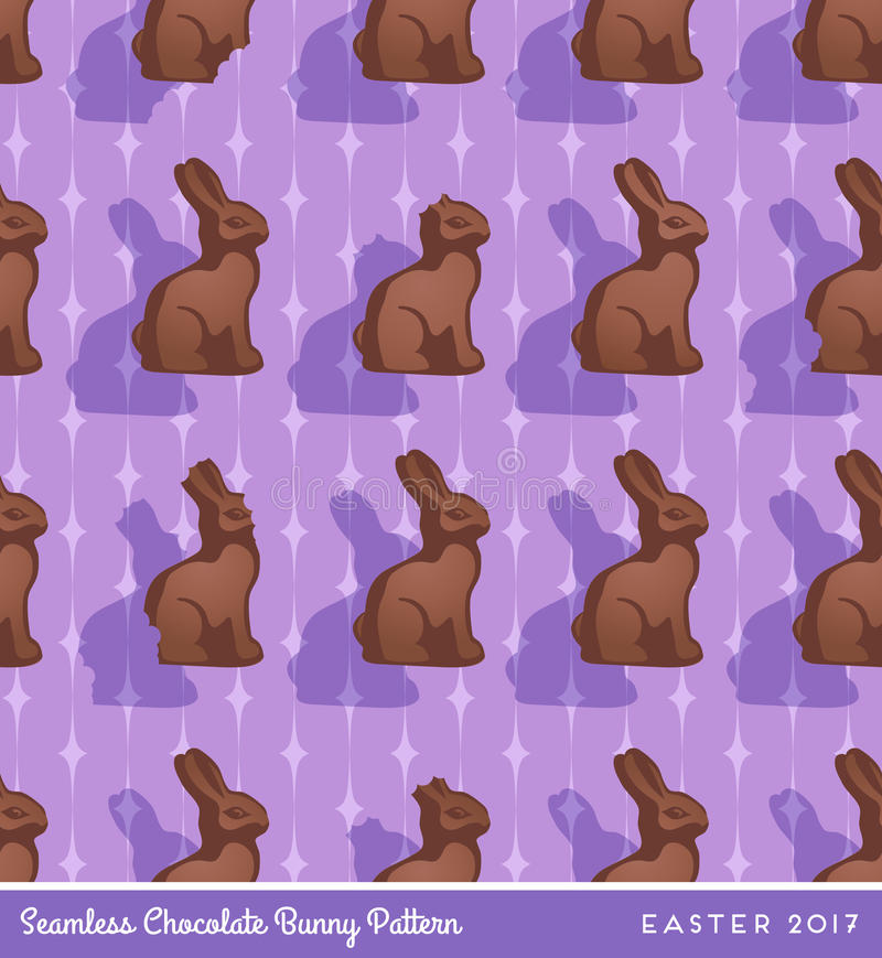 Chocolate easter bunny seamless pattern vector illustration
