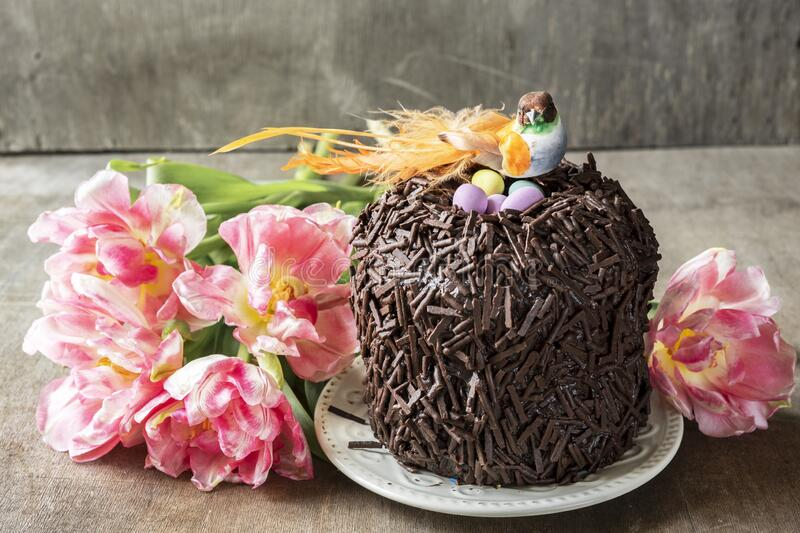 Chocolate Easter cake decorated with a decorative bird and a nest with eggs. royalty free stock photography