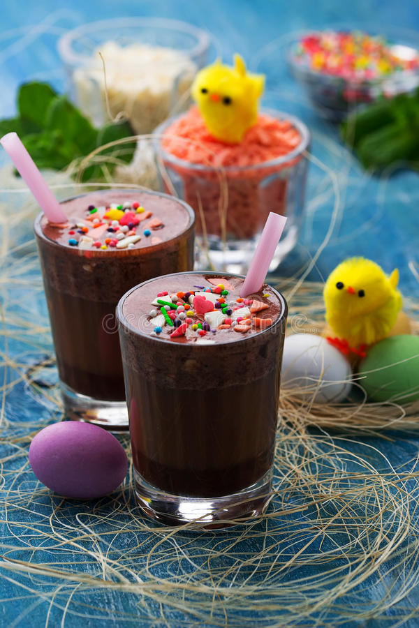 Chocolate Easter drink on blue background stock photo