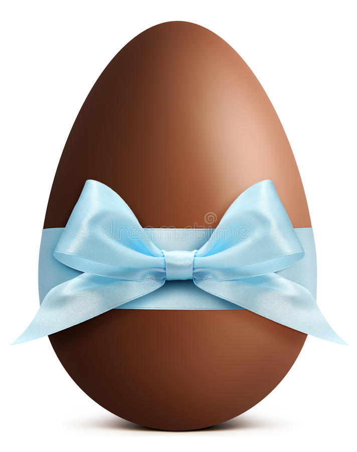Chocolate Easter Egg with blue ribbon Bow on white back stock photo