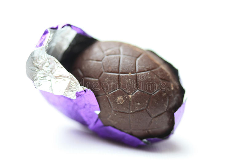 Chocolate easter egg in close up stock photo