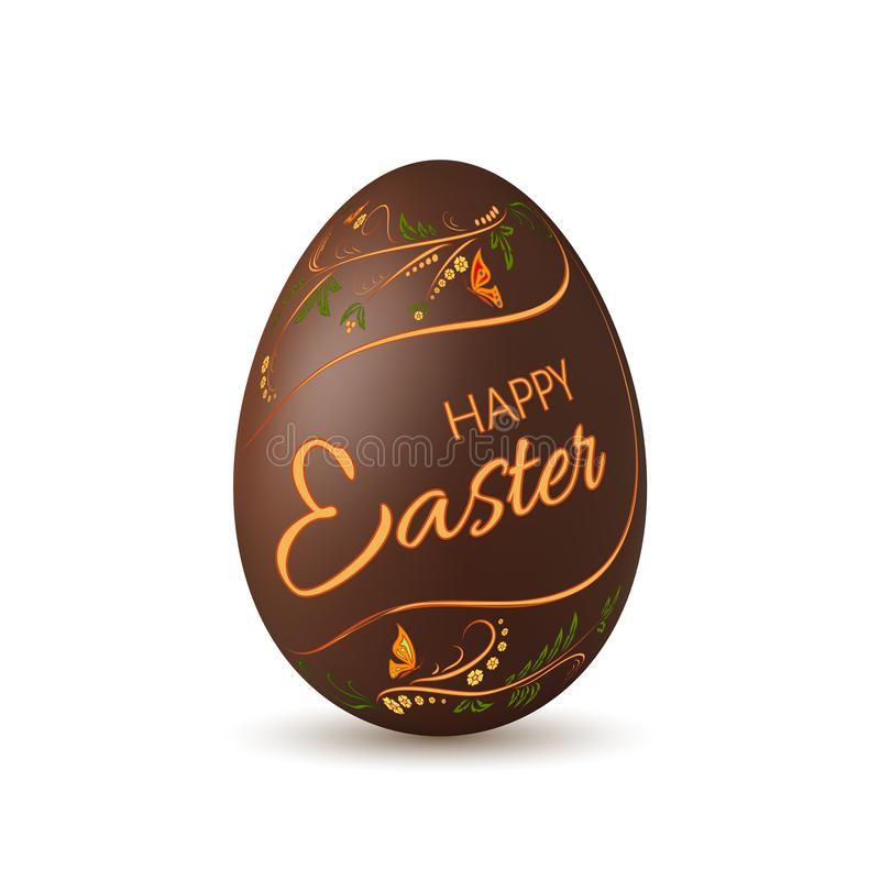 Chocolate Easter egg 3D icon. Brown egg, lettering isolated white background. Floral design. Hand drawn flower royalty free illustration