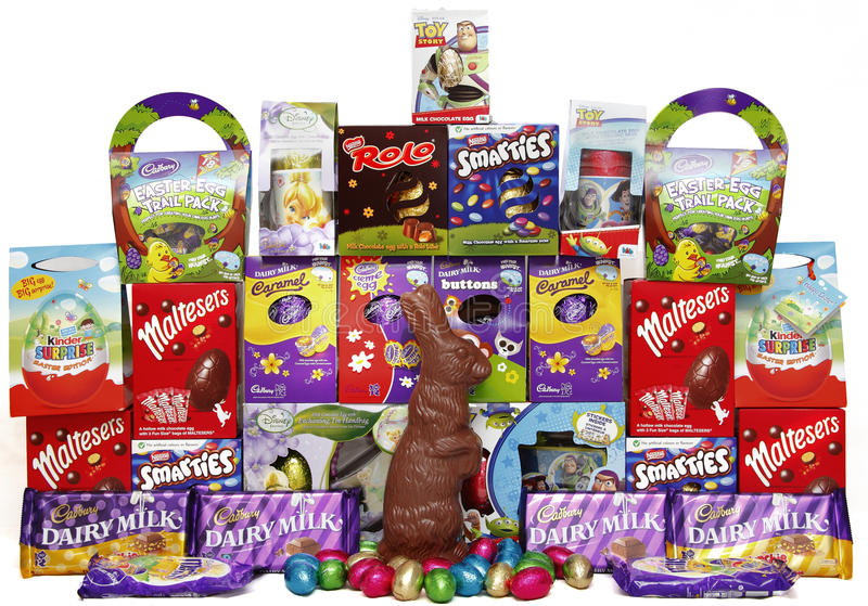 Chocolate Easter eggs. And bunny stock photo